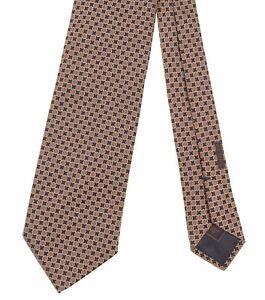 RECENT Brioni Dark Navy & Brown Woven Geometric Checker Hefty Silk Tie