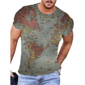 World Map Printed Men Short Sleeve T  Shirt Pullover Tops T-Shirt Fashion Tunic