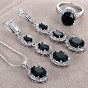 Women Fashion Silver Plated Oval Cut Black Onyx Ring Necklace Wedding JewelrySet