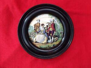 "PRATT WARE ""The Flute Player"" Antique c1860 Framed Pot Lid Cauldon"