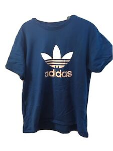 Mens Adidas Bright Blue T Shirt Top Short Length Large Size Logo