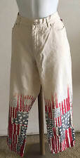 TOMMY HILFIGER JEANS OFF WHITE STARS AND STRIPES JEANS 4TH OF JULY SIZE 8