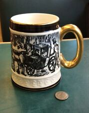 Unique Vintage Demi Mug Gold Trim With Victorian Carriage Scene Made In Japan