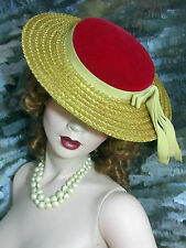 "VINTAGE 1940-50 Ladies STRAW HAT red VELVET crown WIDE BRIM 12"" new condition"