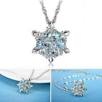 925 Sterling Silver Crystal CZ Pendant Necklace Snowflake Style For Women Lady