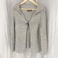 PHASE EIGHT Grey Chunky Knit SIZE 14 UK Big Button Open Long Sleeve Cardigan