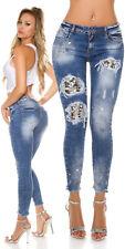 SeXy Miss Damen Hose Skinny Röhre Jeans Retro Pailletten Strass Perlen silber 38