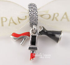 Glamour Trio PANDORA Silver/Red Enamel STILETTO-LIPSTICK-DRESS Dangle Charm NEW