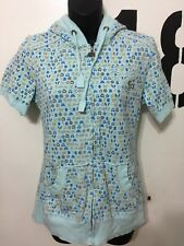 Juniors Baby Blue Fox Racing Short Sleeve Hooded Zip Front Shirt Size Medium