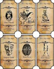 Vintage inspired Halloween skull 6 large bottle label stickers apothecary labels