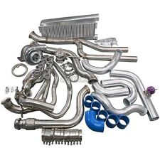 Cxracing Turbo Kit Header Intercooler For 79-93 Mustang 5.0 T70 T4 Blue Hose