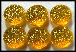 6 TWINKLE Round MARIGOLD Fused Glass DICHROIC Cabochons NO HOLE Flat Back Beads
