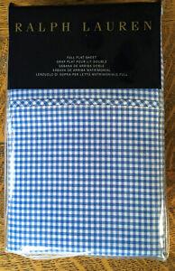 Ralph Lauren Full Flat Sheet - French Blue Classic Gingham NEW unopened