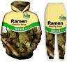Women Mens 3D WEED RAMEN NOODLE SOUP Sweatshirt Hoodies Jogging pants Sport Suit