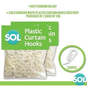 200 Curtain Hooks for Curtains Ring Header Tape White Plastic Nylon Hook Gliders