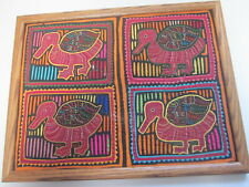 FRAMED QUILTED 4 DUCKS MODERN ART ATTRIBUTED TO FAMOUS ARTIST FORGOT NAME HELP!