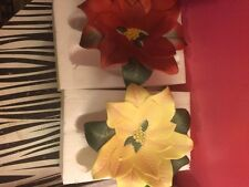 Party Lite Brand PARTYLITE Red and Yellow Poinsettia Porcelain Candle Holders