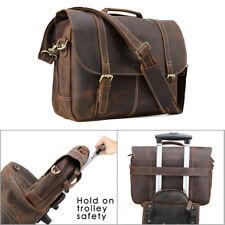 """Vintage Leather Briefcase Men 15.6"""" Laptop Messenger Shoulder School Bag Satchel"""