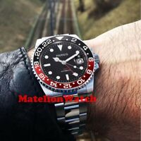Parnis 40mm GMT Automatic black men's watch waterproof luminous sapphire glass