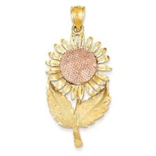 14K Two-tone Gold Sunflower Charm Pendant MSRP $916