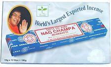 Genuino Incienso Satya Sai Nag Champa Agarbatti palos todo Pack 12 cajas Suelto