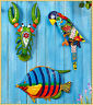 Tropical Metal Wall Sculptures PARROT LOBSTER or FISH Porch Deck Fence Art Decor