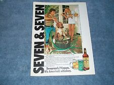 """1975 Seagram's 7 Crown Whiskey Vintage Ad """"Seven & Seven"""" Dog Washing Ad"""