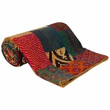 Indian twin handmade patchwork multi kantha quilt cotton gudari bedspread throw