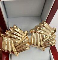 14K Yellow Gold Hollow Puffy Pierced Earrings 1 1/4 X 1 1/4 11.0 Grams