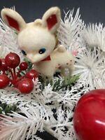 Vintage Plastic Floral Felted White Reindeer Table Top Christmas Decoration