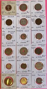 Foreign World Coins, Lot of 18 Carded, GVG-BU, High Value-(4)1800's,(2)Silver