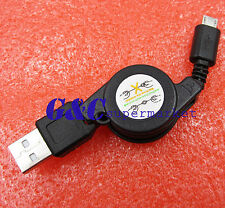 10pcsUsb 2.0 to Micro Usb Retractable Cable Data Sync Charging Charge Cord Black