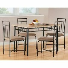 Dinette Set for Small Spaces 5 Piece Wood Metal Modern Dining Kitchen Natural