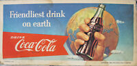 "1956 Coca Cola Soda Pop Coke Litho Blotter Sign 7 1/2"""