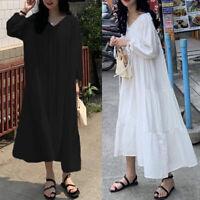 ZANZEA Women Long Sleeve Summer Holiday Shirt Dress Pleated V Neck Sundress Plus