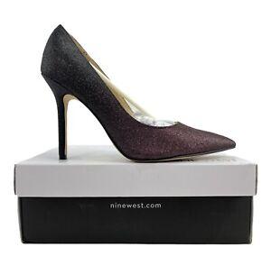 Nine West Bliss 3 Women's Glitter Purple Slip On Pointy Toe Pumps Size 8 M