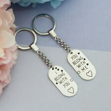 Stainless Steel Lovers' Keyring Couple Key Chains Keyring Oval Dull