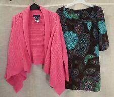 RALPH LAUREN pink cable knit chunky cardigan GAP floral dress bundle set 6-7y