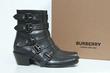 New sz 8 / 38 Burberry Albertina Belted Black Leather Combat Boot Open Toe Shoes