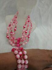 Sweet Vtg  Lisner pink moonglow lucite crystal  3 strands necklace bracelet set