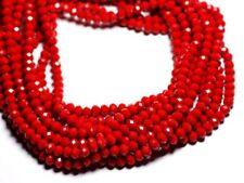 Fil 39cm 90pc env - Perles Verre opaque - Rondelles Facettées 6x4.5mm Rouge Ceri