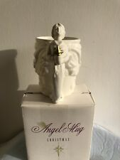 Angel Mug Cup 1995 McConnell Talus Corp White Raised Design Gold Star