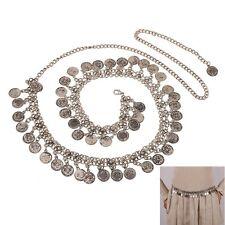 Fashion Vintage Womens Belly Antique Silver Coin Waist Belt Chain Tassel Jewelry