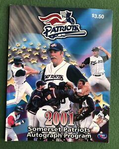 Somerset Patriots 2001 Autograph Program book sports Baseball