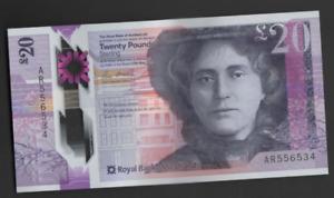 ROYAL BANK SCOTLAND POLYMER £20 UNCIRCULATED PREFIX AR 556534 FREEPOST RECORDED