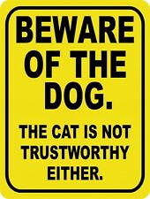 Warning Beware Of The Dog and Cat No Trespass Retro Vintage Metal Sign 9x12