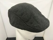 F&F Mens Charcoal Grey Herringbone Polyester Blend Flat Cap Size Large/XL
