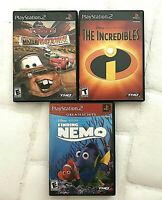 PS2 Disney Pixar Lot: Cars Maternational, The Incredibles, Finding Nemo. Tested