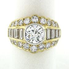 18K Gold & Platinum GIA Bezel Round Baguette 4.4ctw Diamond Wide Statement Ring