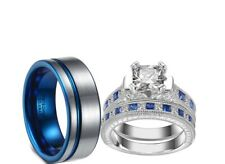 blue Bridal Engagement Wedding Ring Set His Tungsten And Her Cz Sterling silver